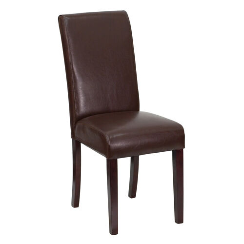 Our Dark Brown Leather Parsons Chair is on sale now.