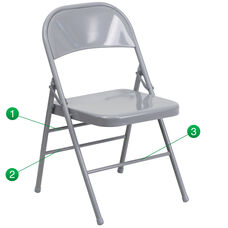 HERCULES Series Triple Braced & Double Hinged Gray Metal Folding Chair