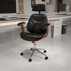 High Back Black LeatherSoft Executive Ergonomic Wood Swivel Office Chair with Arms