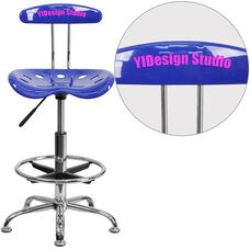 Personalized Vibrant Nautical Blue and Chrome Drafting Stool with Tractor Seat
