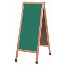 A-Frame Sidewalk Green Porcelain Chalkboard with Solid Red Oak Frame - 42