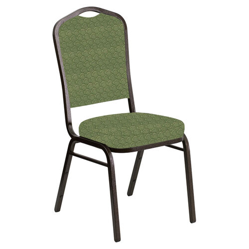 Embroidered Crown Back Banquet Chair in Arches Herbal Fabric - Gold Vein Frame