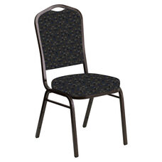 Crown Back Banquet Chair in Empire Tartan Sky Fabric - Gold Vein Frame