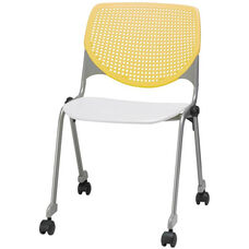 2300 KOOL Series Stacking Poly Silver Steel Frame Armless Chair with Yellow Perforated Back and Casters - White Seat