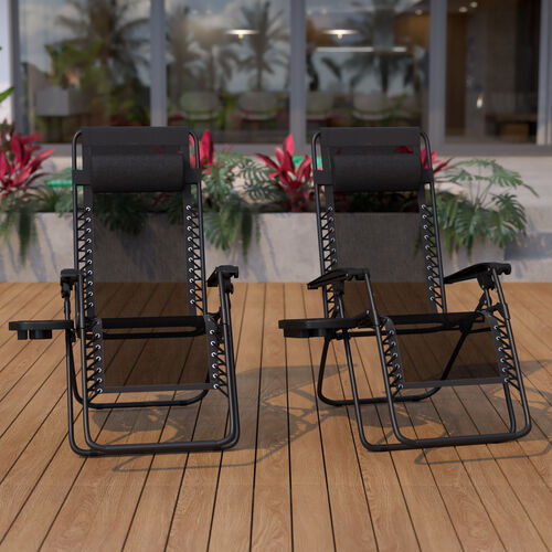 Adjustable Folding Mesh Zero Gravity Reclining Lounge Chair with Pillow and Cup Holder Tray, Set of 2