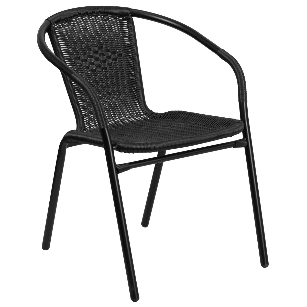 9917b5b5c8 ... Our Black Rattan Indoor-Outdoor Restaurant Stack Chair is on sale now.