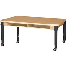Mobile Four-Seater Classroom High Pressure Laminate Desk with Adjustable Steel Legs - 48