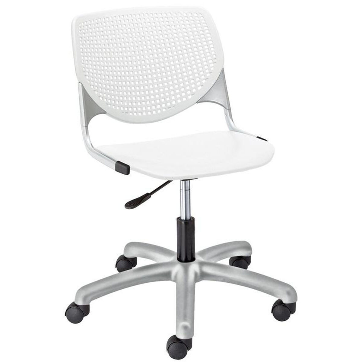 Our Tk2300 Kool Series Poly Armless Task Chair With Perforated Back And Silver Frame White