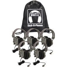Gray Over-Ear Leatherette Ear Cushion Deluxe Sack-O-Phones Microphone Headsets with Volume Control on Ear and Carry Bag - Set of 5 Headphones
