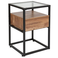 Cumberland Collection Glass End Table with Drawer and Shelf in Rustic Wood Grain Finish