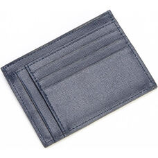 RFID Blocking Slim Card Case Wallet - Saffiano Genuine Leather - Blue
