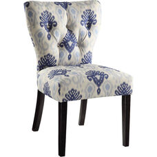 Ave Six Andrew Armless Fabric Chair with Solid Wood Legs - Medallion Ikat Blue