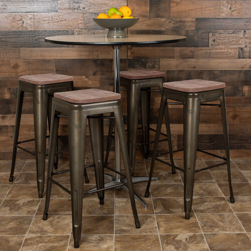 "Our 30"" High Metal Indoor Bar Stool with Wood Seat in Gun Metal Gray - Stackable Set of 4 is on sale now."