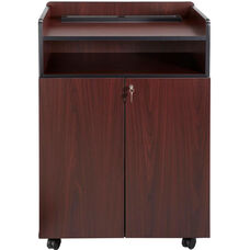 29.5'' W x 20.5'' D x 40.75'' H Executive Presentation Stand with Double Doors - Mahogany