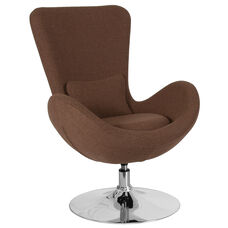 Egg Series Brown Fabric Side Reception Chair