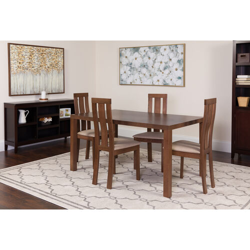 Our Madison 5 Piece Walnut Wood Dining Table Set with Vertical Wide Slat Back Wood Dining Chairs - Padded Seats is on sale now.