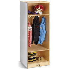 Wooden Dress-Up Locker with 4 Double Coat Hooks and Side Mounted Acrylic Mirror - 18