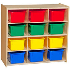 Contender Baltic Birch Storage Unit with 12 Assorted Plastic Tubs - Assembled - 30