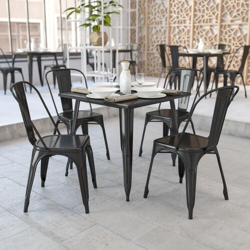 "Commercial Grade 31.75"" Square Metal Indoor-Outdoor Table"
