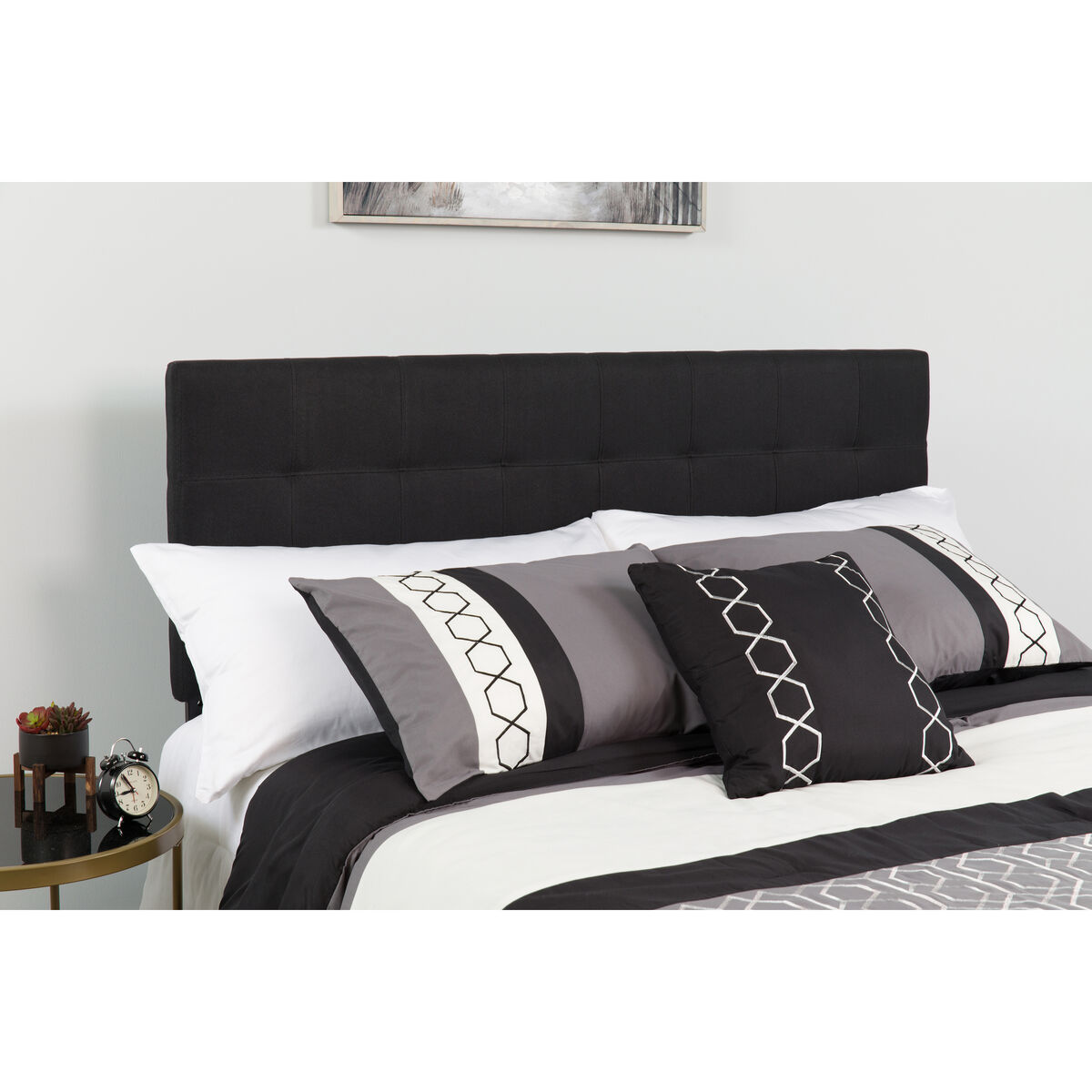 Our bedford tufted upholstered king size headboard in black fabric is on sale now
