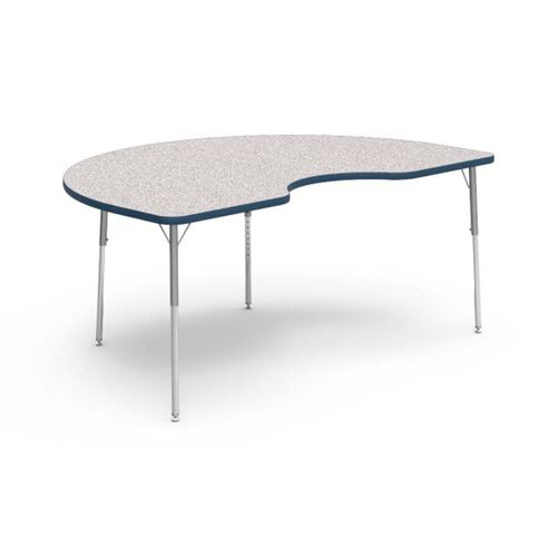 Our 4000 Series Adjustable Height Kidney Top Laminate Activity Table with Gray Nebula Top, Navy Edge, and Silver Mist Legs - 48