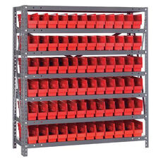 12''D 7 Shelf Unit with 72 Bins - Red