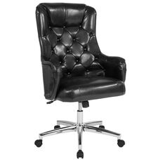 Chambord Home and Office Upholstered High Back Chair in Black LeatherSoft