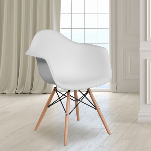 Our Alonza Series White Plastic Chair with Wooden Legs is on sale now.