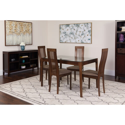 Our Imperial 5 Piece Espresso Wood Dining Table Set with Glass Top and Framed Rail Back Design Wood Dining Chairs - Padded Seats is on sale now.