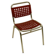 South Beach Hand Polished Tubular Aluminum Stackable Side Chair - Red