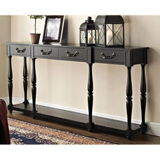 Console Table with Storage Space - Black Crackle
