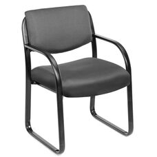 Mid Back Fabric Guest Side Chair with Armrests - Grey