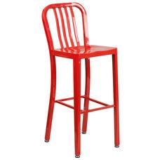 "Commercial Grade 30"" High Red Metal Indoor-Outdoor Barstool with Vertical Slat Back"