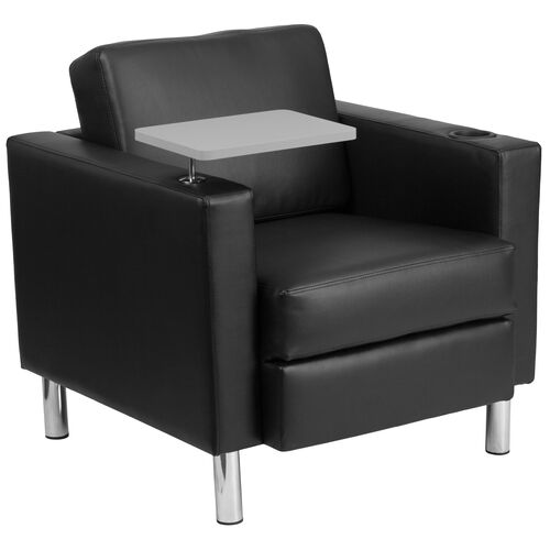 Guest Chair with Tablet Arm, Tall Chrome Legs and Cup Holder
