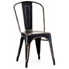 Dreux Stackable Vintage Matte Black - Gold Steel Side Chair - Set of 4