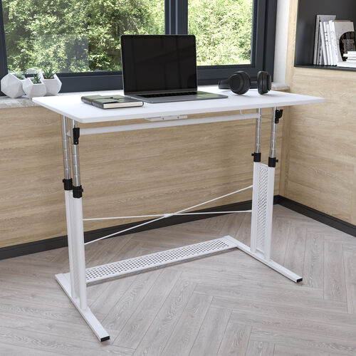"""Height Adjustable (27.25-35.75""""H) Sit to Stand Home Office Desk - White"""