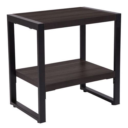 Thompson Collection Charcoal Wood Grain Finish End Table with Black Metal Frame
