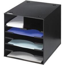 Seven Compartment Steel Desktop Sorter and Organizer - Black