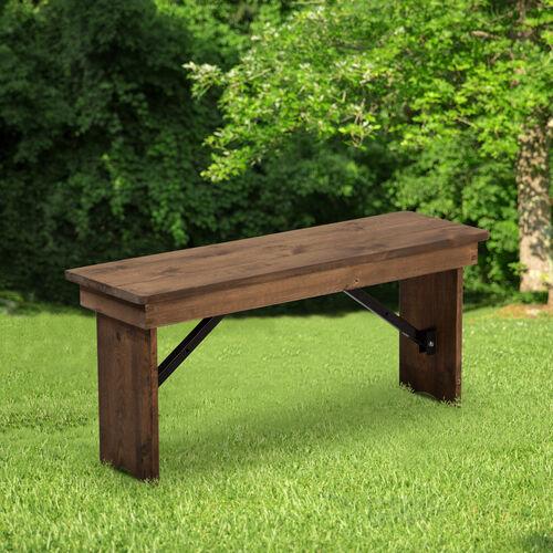 "HERCULES Series 40"" x 12"" Solid Pine Folding Farm Bench"