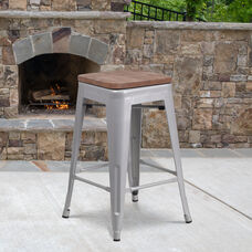 """24"""" High Backless Silver Metal Counter Height Stool with Square Wood Seat"""