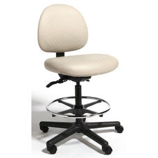 Triton Plus Medium Back Mid-Height Drafting Cleanroom Chair with 350 lb. Capacity - 4 Way Control