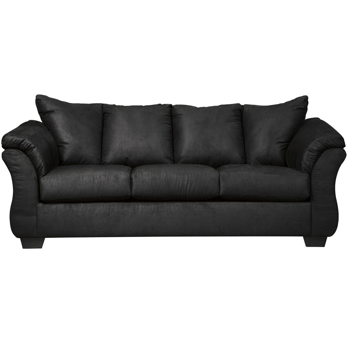 Our Signature Design By Ashley Darcy Sofa In Black Microfiber Is On Now