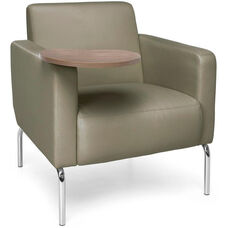 Triumph Lounge Chair with Tablet and Vinyl Seat with Chrome Feet - Taupe Seat with Bronze Finish Tablet
