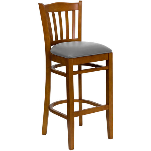 Our Cherry Finished Vertical Slat Back Wooden Restaurant Barstool with Custom Upholstered Seat is on sale now.