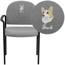 Embroidered Comfort Gray Fabric Stackable Steel Side Reception Chair with Arms