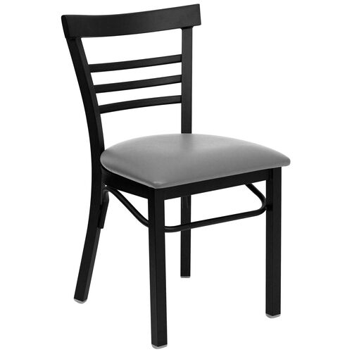 Our HERCULES Series Black Three-Slat Ladder Back Metal Restaurant Chair - Custom Upholstered Seat is on sale now.