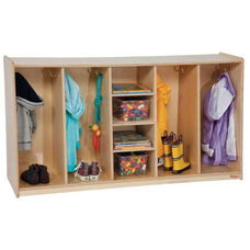 Tip-Me-Not Four Section Tot Lockers with Two Single Coat Hooks in Each Section - Assembled - 54