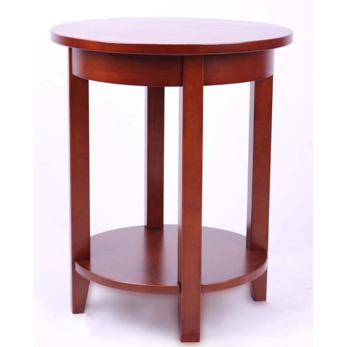 Our Shaker Cottage Wooden 19 Diameter Round Accent Table With Storage Shelf Cherry