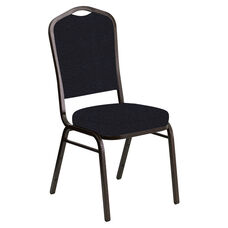 Embroidered Crown Back Banquet Chair in Cobblestone Blissful Blue Fabric - Gold Vein Frame