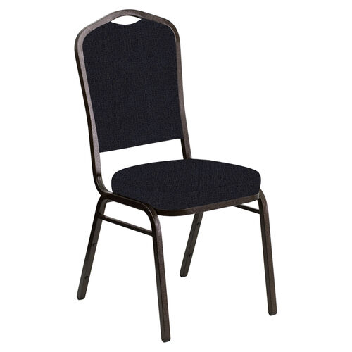 Our Embroidered Crown Back Banquet Chair in Cobblestone Blissful Blue Fabric - Gold Vein Frame is on sale now.